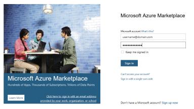 Azure Marketplace Logon